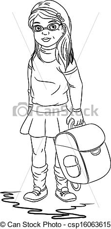 School Girl Clipart Black And White.