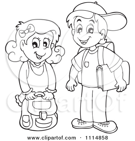 School Boy And Girl Clipart Black And White.
