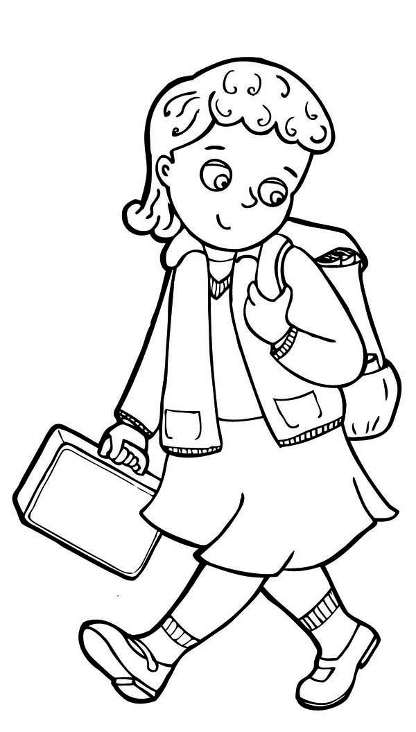 Girl At School Clipart Black And White.