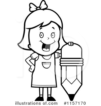 Clipart Girl At School Black And White.