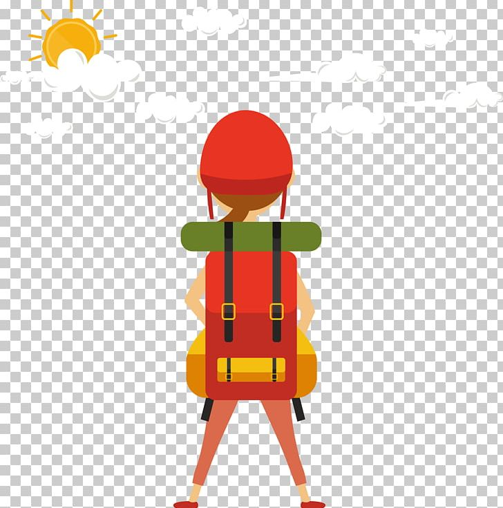 Red Back Pack Girl PNG, Clipart, Art, Backpack, Baiyun.