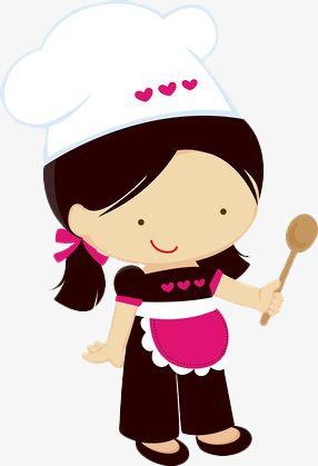Cartoon Little Girl Chef, Cartoon Clipart, Chef Clipart, Cartoon PNG.