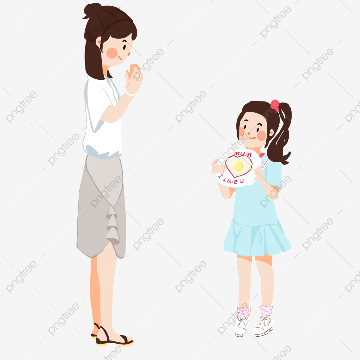 Hand Painted Illustration Mothers Day Daughter, Girl, Child, Love.