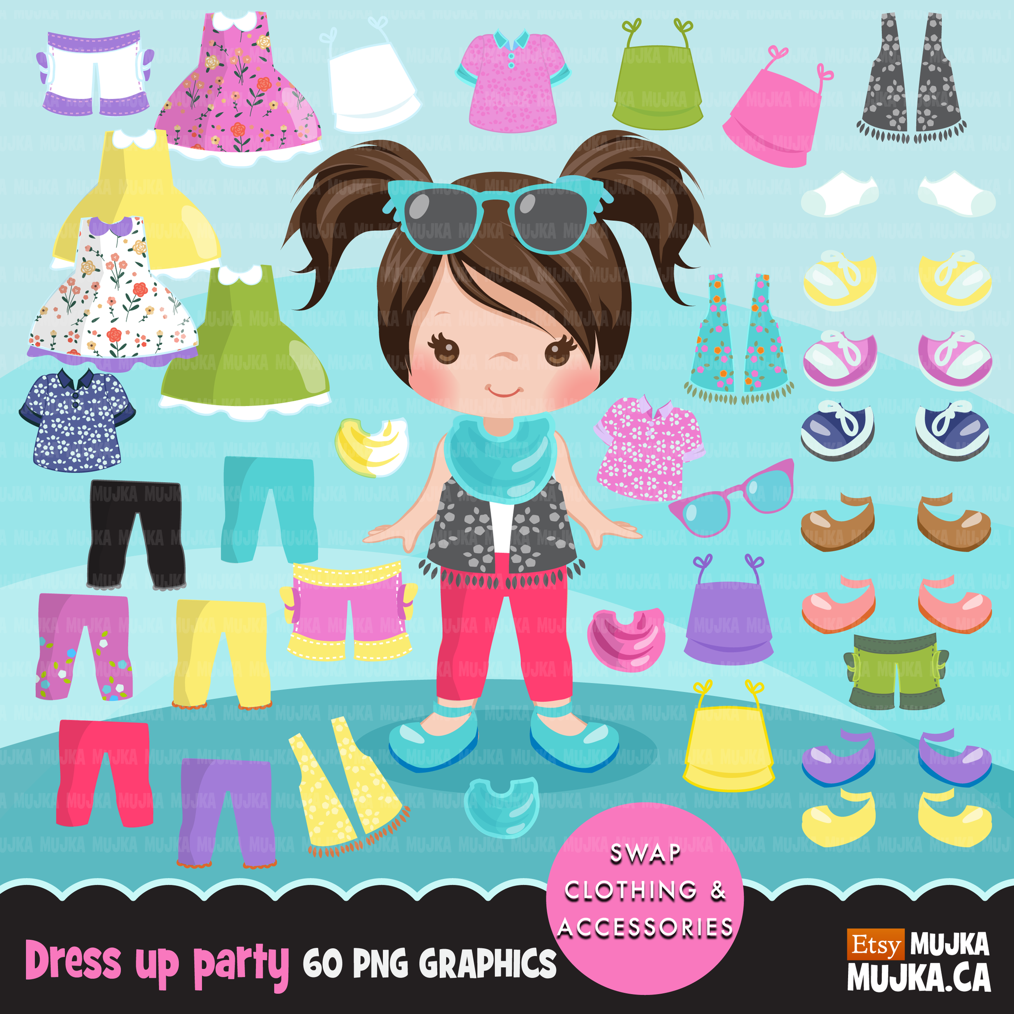 Paper Doll clipart Bundle. Collection of little girl clothing and  accessories.