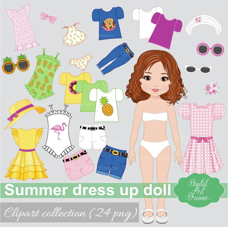 Paper Doll Summer Clipart, Girl Dress Up Clip Art, Cute Character Graphics,  Doll Constructor, Beach Clothes, Pineapple Swimming Suit, Shorts.