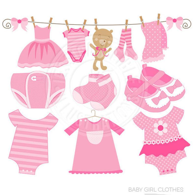 Baby Girl Clothes Cute Digital Clipart.