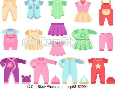 Colorful baby girl clothes vector set.