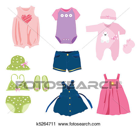Baby girl elements, clothes Clipart.