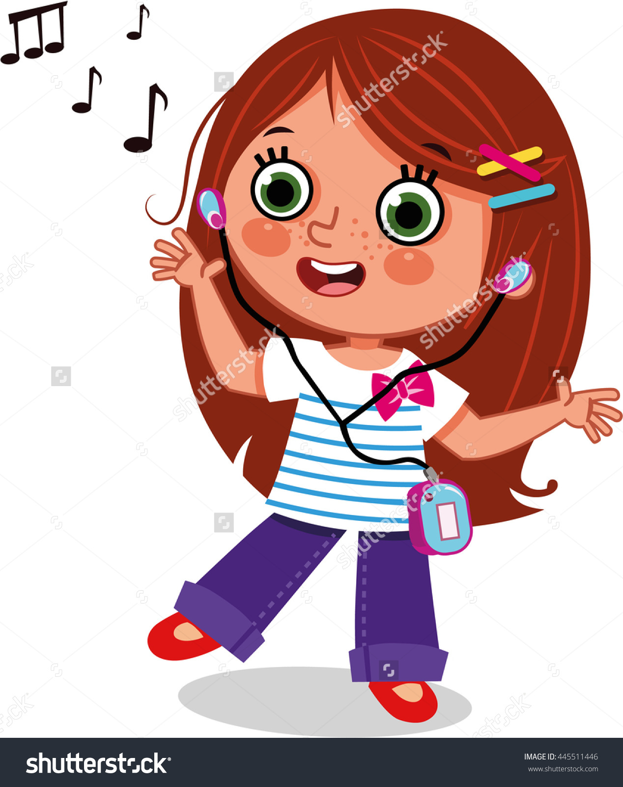 Girl Dancing While Listening Music Clipart Stock Vector 445511446.