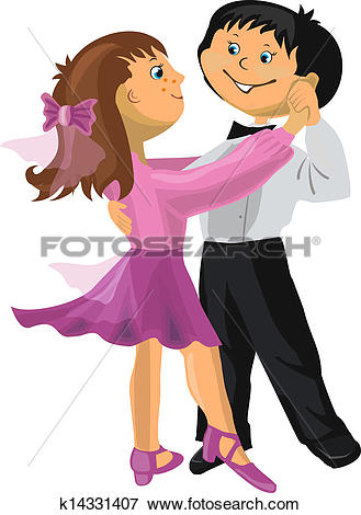 Clip Art of Cartoon boy and girl dancing k14331407.