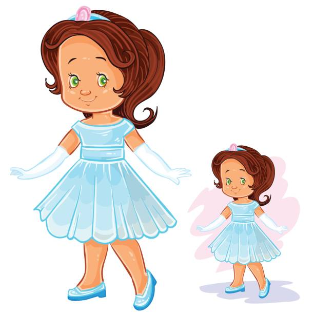 Cute Little Baby Girl Dancing Happily Clip Art, Vector Images.