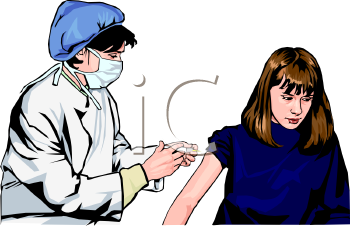 Royalty Free Clipart Image: Realistic Woman Doctor Giving a Girl a.