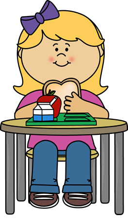 Girl Eating Cafeteria Lunch.