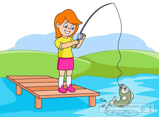 Girl Fishing Clipart.