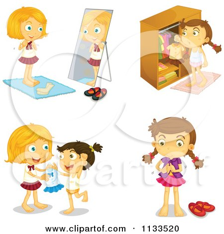 clipart girl getting dressed #15