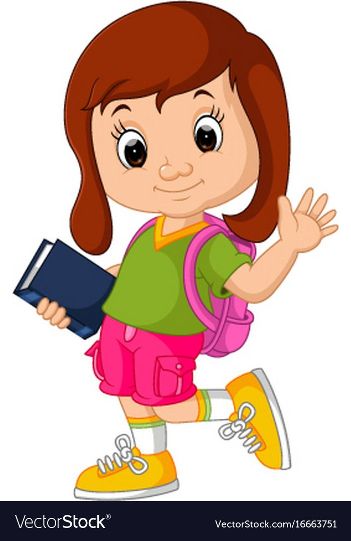 Cute girl go to school cartoon Royalty Free Vector Image.