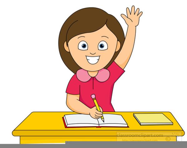 Clipart Girl Raising Her Hand.