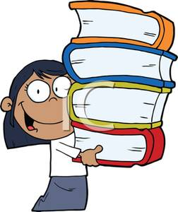 Colorful Cartoon of a Hispanic Girl Holding a Stack of School.