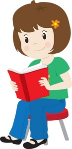 Girl Holding Reading Book Clipart.