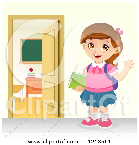 Clipart of a Caucasian School Girl Holding Books and Waving.