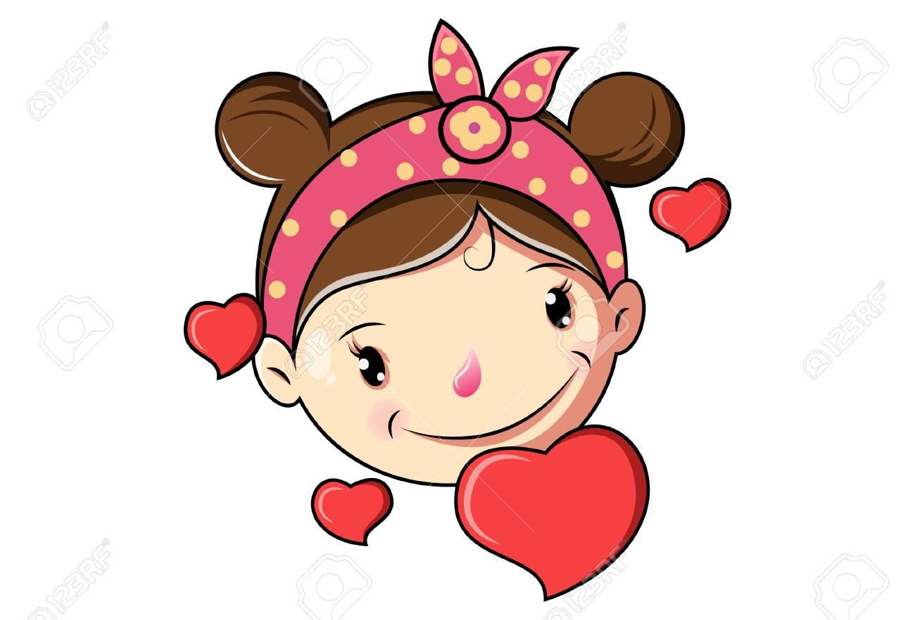 Cartoon Cute Girl Face In Love .Vector Illustration..