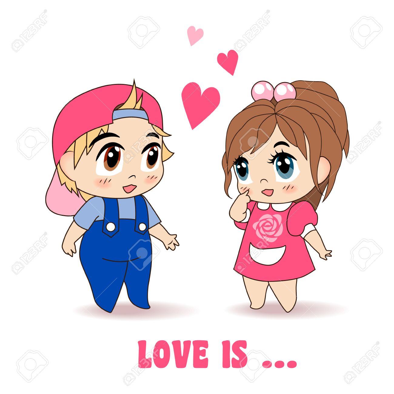 Little Boy And Girl Romantic Love, Vector Illustration.