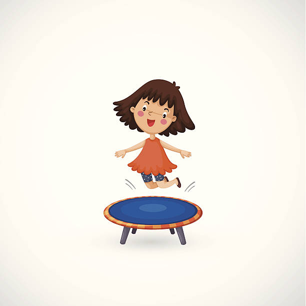 Drawing Of The Kid Jumping On Trampoline Clip Art, Vector Images.