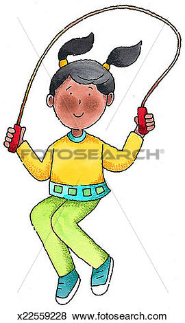 Stock Illustration of Girl Jumping Rope x22559228.