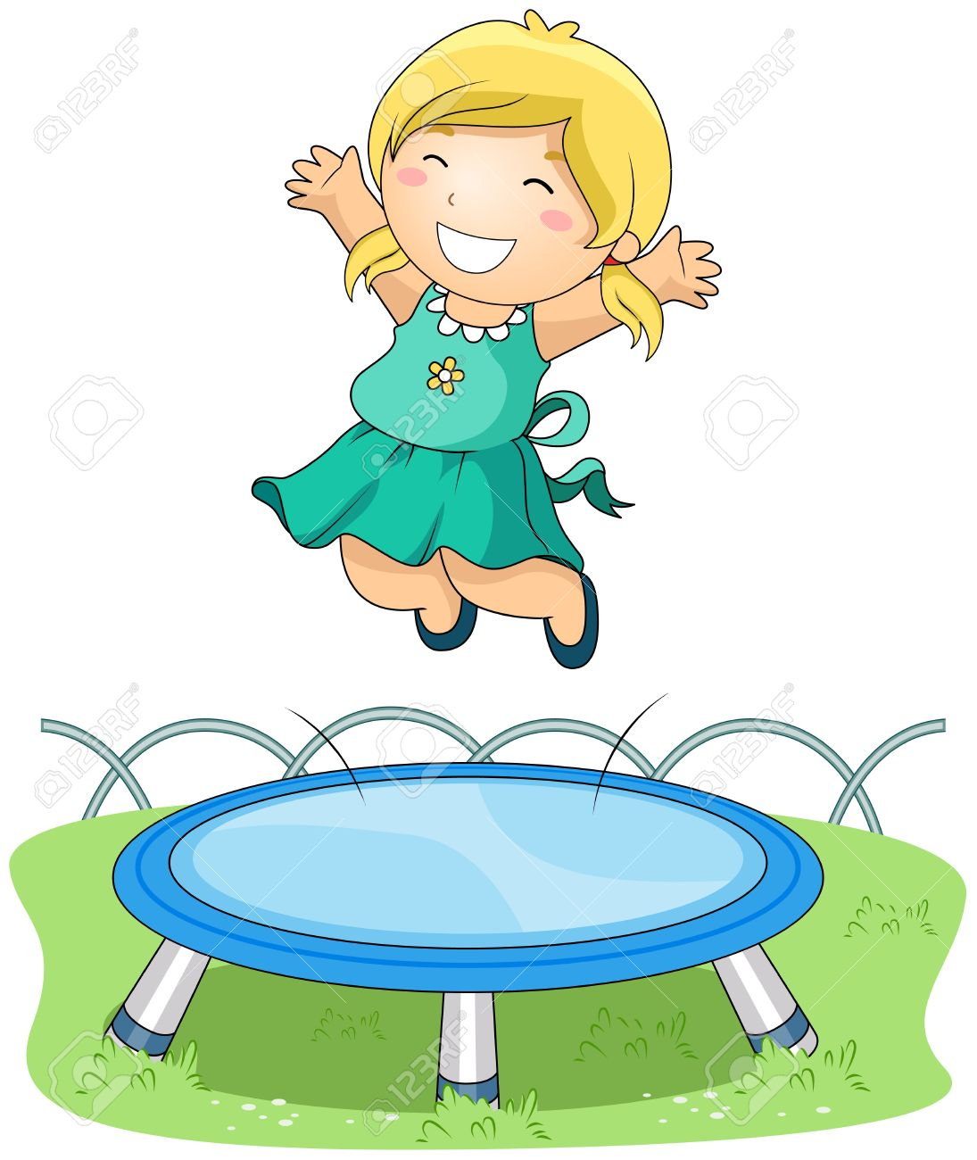 Girl Jumping On Trampoline Stock Photo, Picture And Royalty Free.