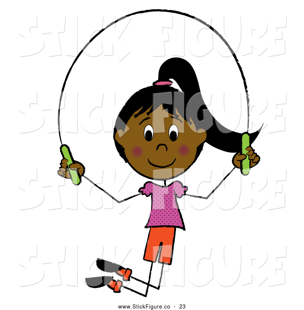 Clip Art of a Grinning Happy Hispanic Girl Jumping Rope by Pams.