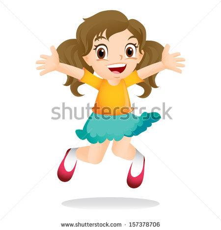 clipart girl jumping #3
