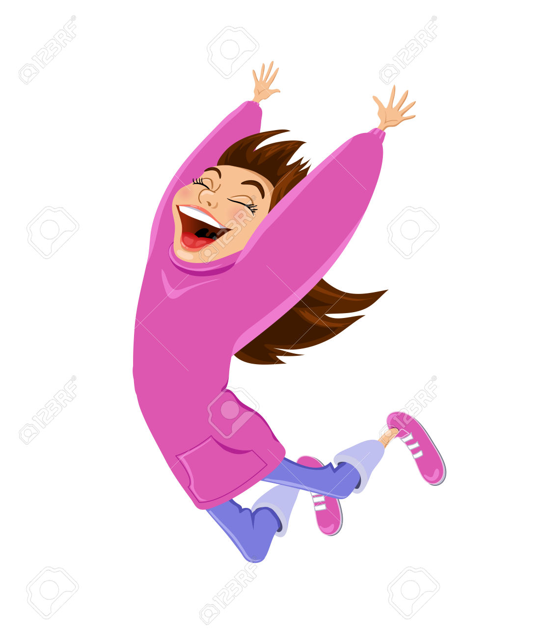 Girl Excited In Bed Cartoon