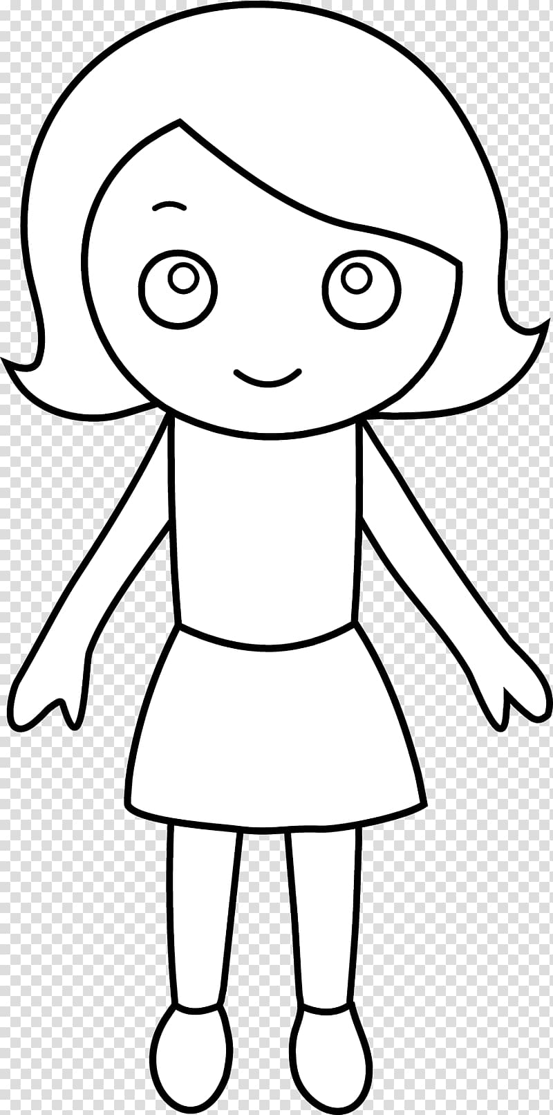 Coloring book Girl Child , girl outline transparent.