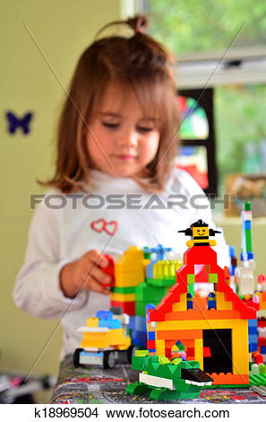 Stock Photo of Child play with Lego construction toy k18969504.