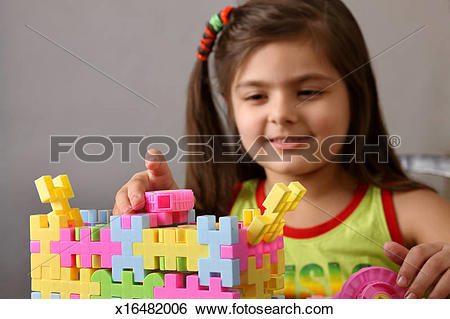 Stock Images of Girl playing with lego x16482006.