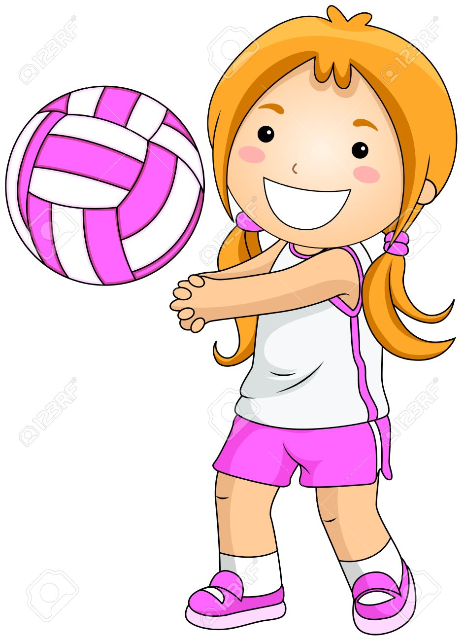 Girl Playing Volleyball Stock Photo, Picture And Royalty Free.