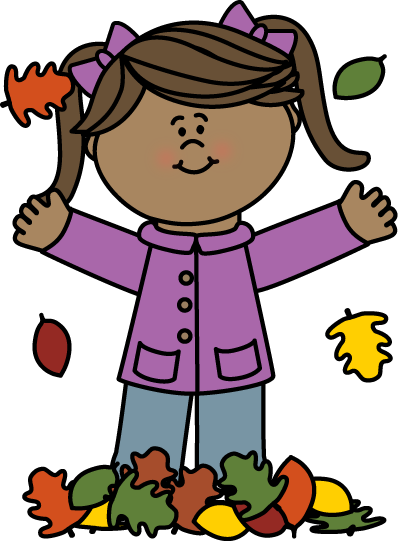Girl Playing in Leaves Clip Art.