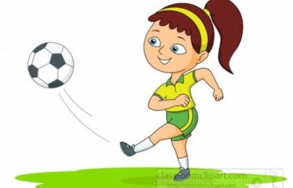 clip art girl kicking soccer ball.