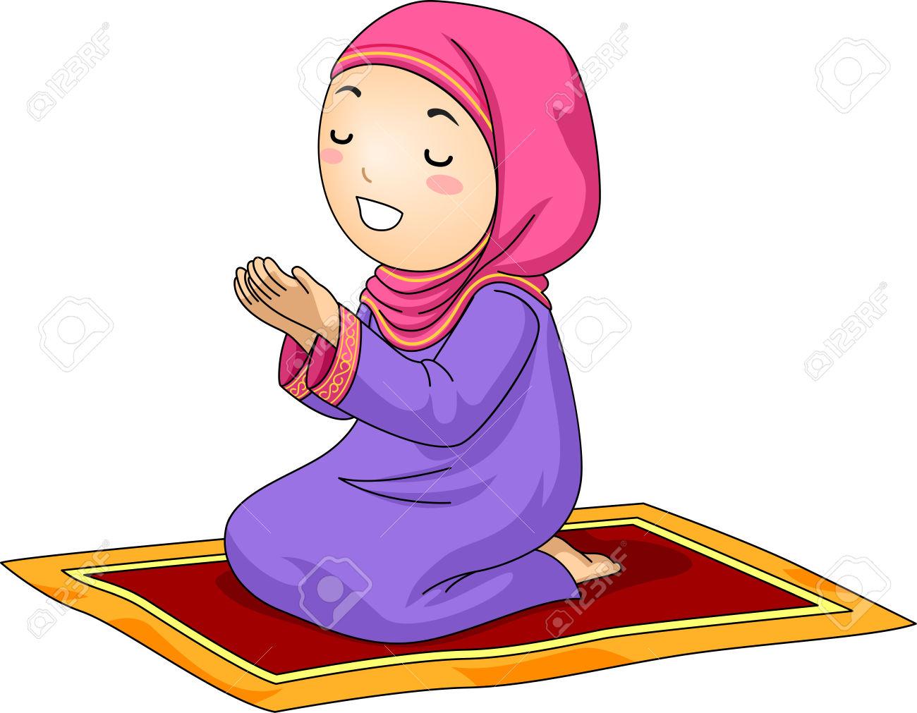 Muslim Girl Praying Clipart.