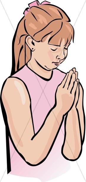 Girl Praying Clipart.