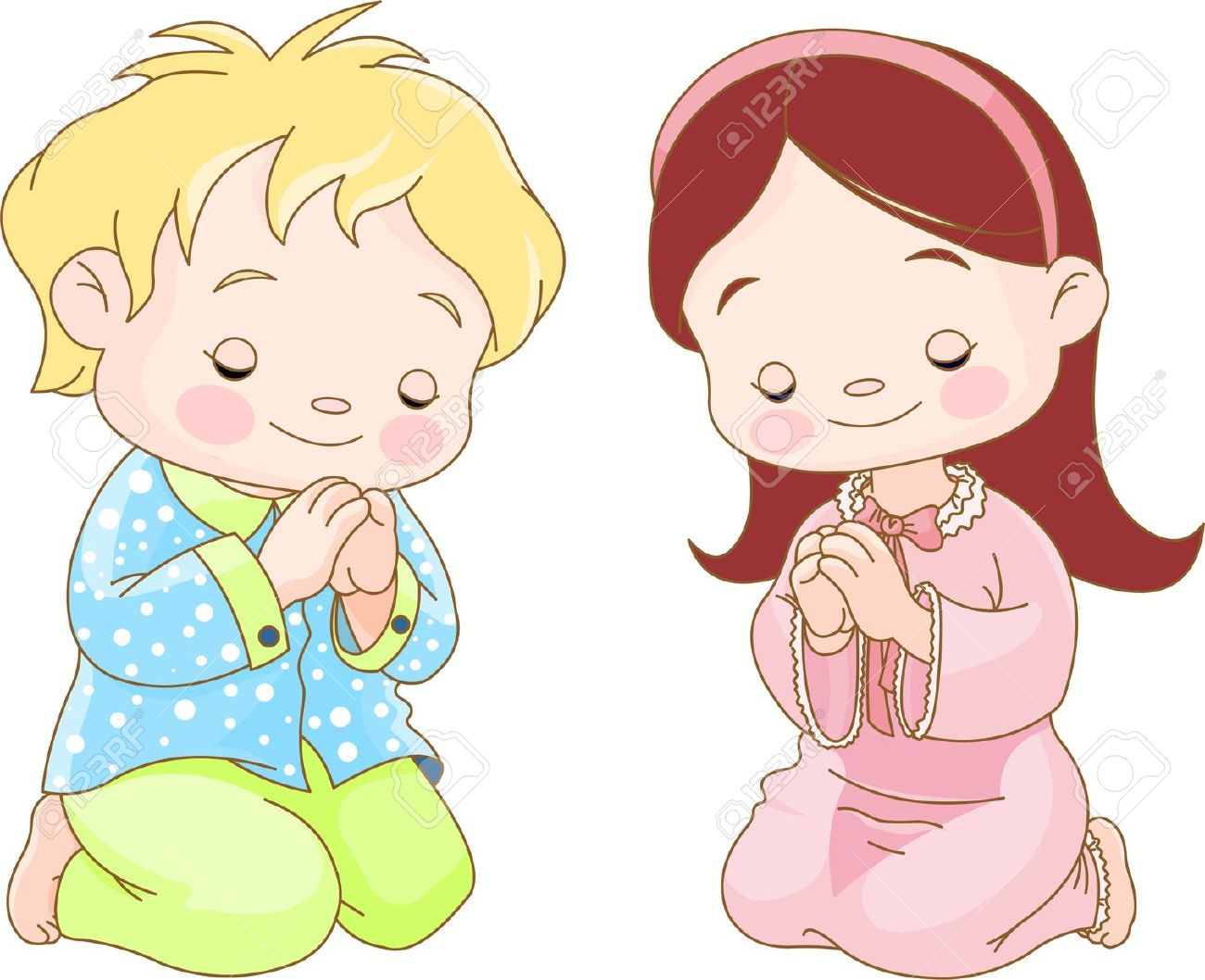 Boy and girl praying clipart.
