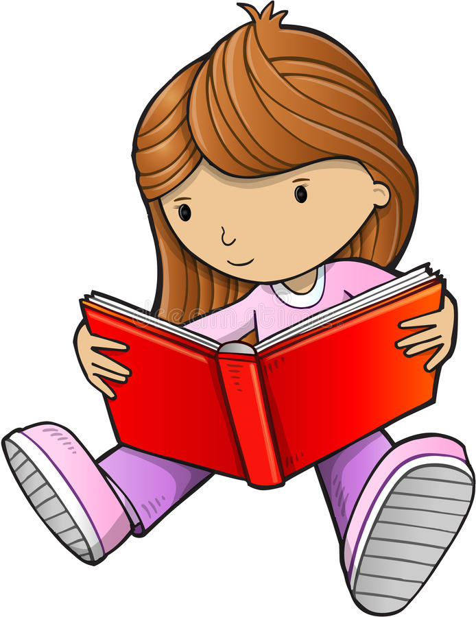 Clipart Of A Girl Reading A Book.