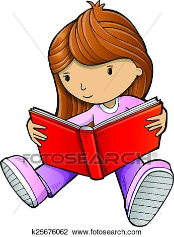 Girl Reading Book Sketch Vector art Clipart.