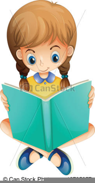 Clipart Girls Reading Books.