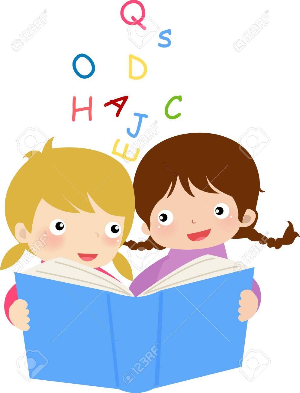 two girls reading book.