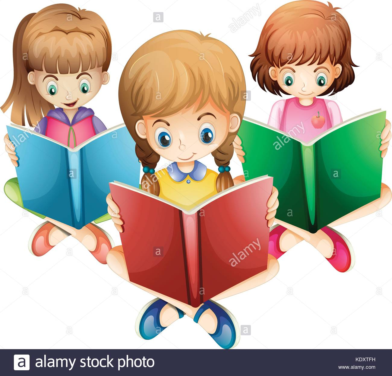 Three girls reading books illustration Stock Vector Art.