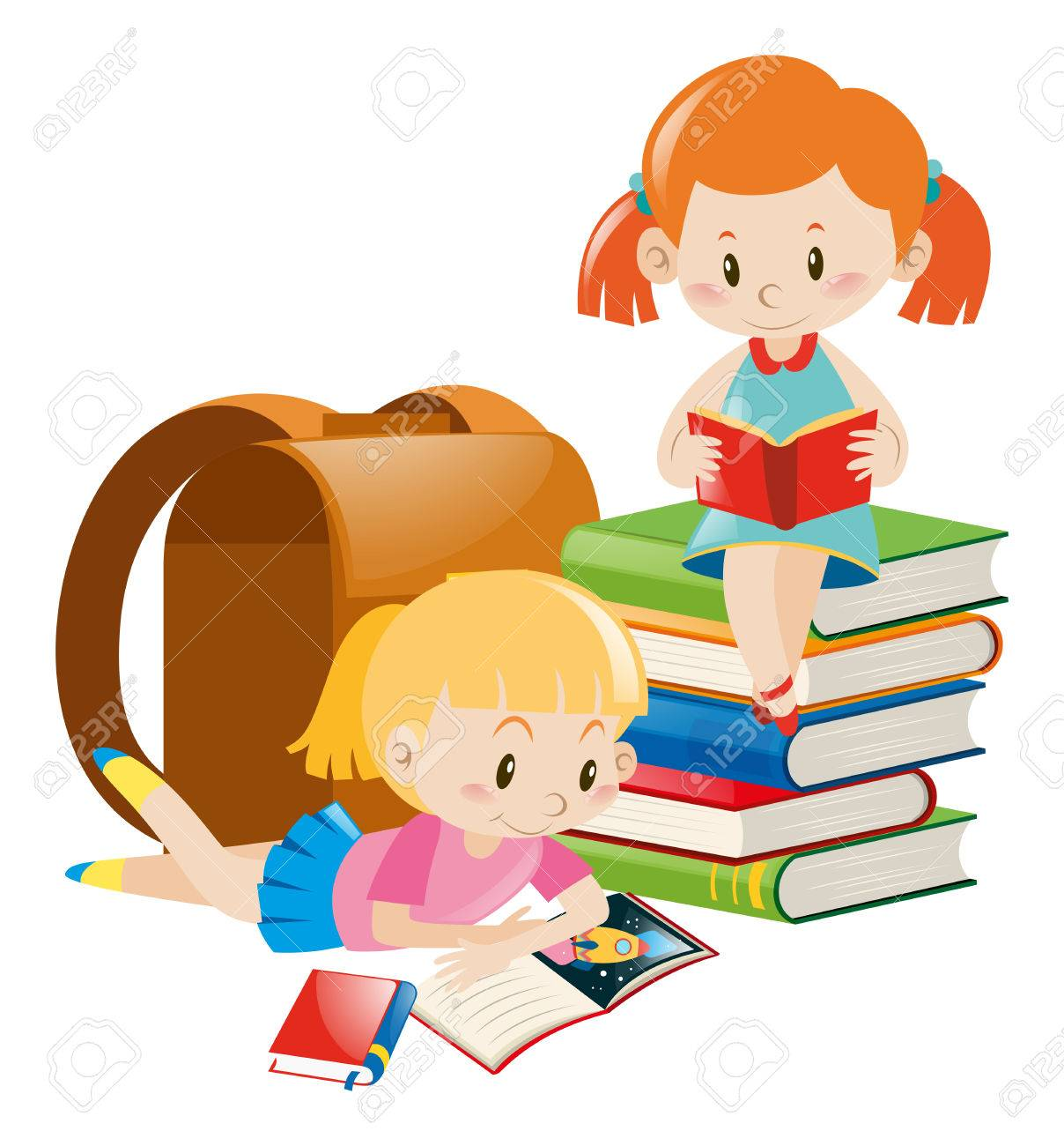 Girl Reading A Book Clipart 1.