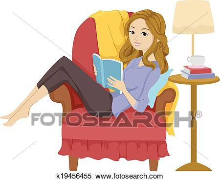 Girl Reading Book Clipart.