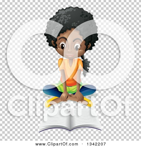 Clipart of a Black School Girl Sitting on the Floor and Reading.