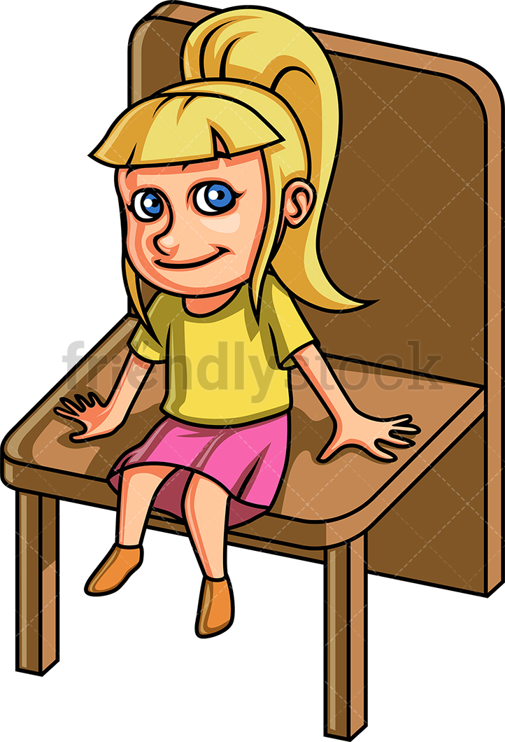 Little Girl Sitting On A Chair.